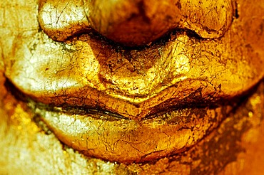 Statue of a Buddha, mouth, detail