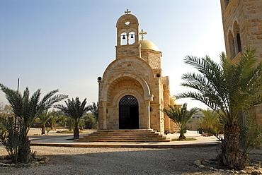 Modern Orthodox Church near the baptism site of Jesus Christ at the River Jordan, Wadi Al-Kharrar, Jordan