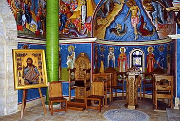 Interior of a modern Orthodox Church near the baptism site of Jesus Christ at the River Jordan, Wadi Al-Kharrar, Jordan
