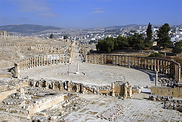 The oval forum and the south end of the cardo maximus (main street) of Jerash, the ancient Gerasa, Jordan