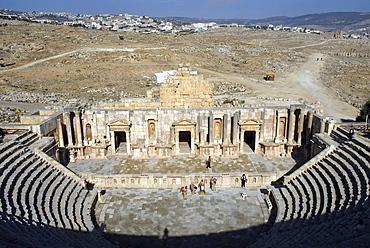 The Roman amphitheatre of Jerash, the ancient Gerasa, Jordan