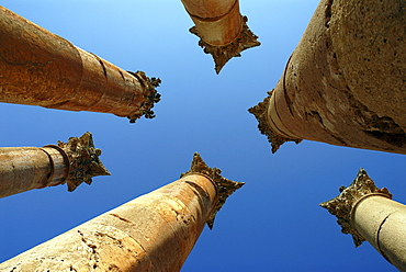 Columns of the Roman Temple of Artemis, Jerash, the ancient Gerasa, Jordan