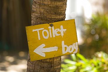 Sign for the toilet, restaurant, Mui Ne, Vietnam