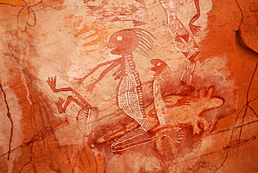 Close-up of the old rock art of the Aborigines, south of Alice Springs, Northern Territory, Australia