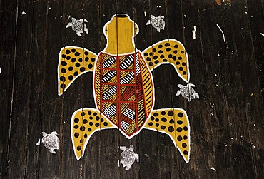 Aboriginal painting in a church on Tiwi Islands, Darwin, Northern Territory, Australia