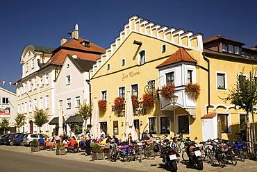 Restaurant on main street, Eichstaett, Bavaria, Germany