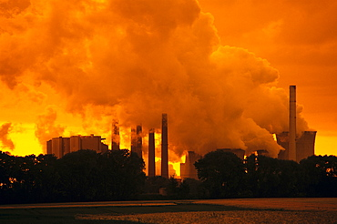 Brown coal power plant in evening light, emissions, North Rhine-Westphalia, Germany, Europe