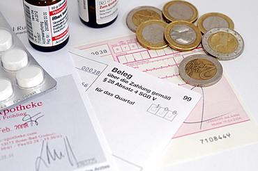 Medication, prescription, receipt and coins