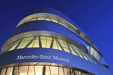 Mercedes Museum at night, Stuttgart, Baden-Wuerttemberg, Germany, Europe