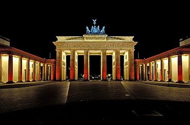 Illuminated brandenburg gate in berlin during festival of lights, berlin, germany