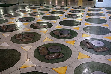 Foot prints of in hall of fame in maracana stadium, rio de janeiro, brasil