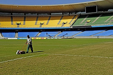 Preparations before the game in maracana stadium, the largest soccer stadium in the world, rio de janeiro, brasil