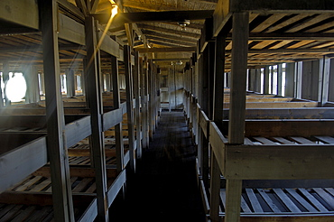 Beds in a barrack in concentration camp sachsenhausen, germany