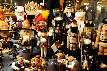 Handycrafted nutcrackers for sale on christmas market