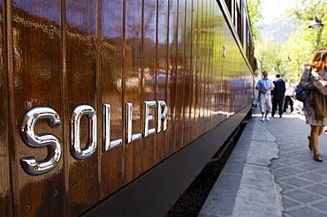 Platform of the railway station in Soller, Majorca, Balearic Islands, Spain, Europe