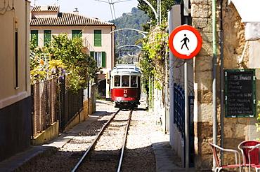 Tram connecting Soller and Port de Soller, Majorca, Balearic Islands, Spain, Europe