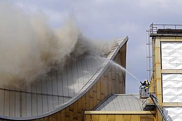 Philharmonie, Philharmonics Building on fire, Berlin, Germany, Europe