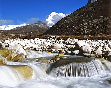 Small waterfall and cliff in Nepal, Asia