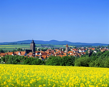 Panoramic view of the town of Grebenstein, Hesse, Germany, Europe