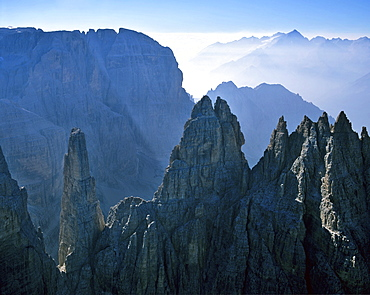 Guglia di Brenta, Campanile Basso and Mt. Cima Tosa (Brenta Group) on the left and to the right in the background Mt. Adamello, Dolomites, Italy, Europe