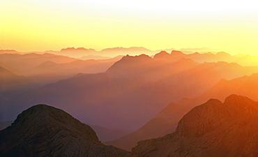 Panoramic view of sunrise on Mt. Zugspitze, Upper Bavaria, Bavaria, Germany, Europe