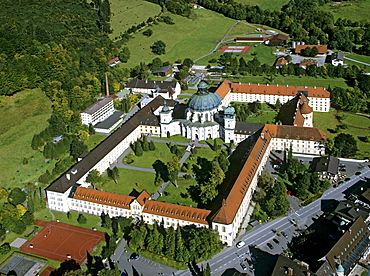 Kloster Ettal, Ettal Abbey, Benedictine monastery, aerial view, Upper Bavaria, Bavaria, Germany