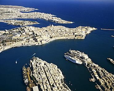 Valletta, aerial view, historic centre, Mediterranean, Malta