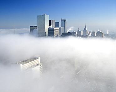 Dallas skyline in the fog, Dallas, Texas, USA
