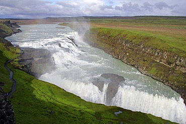 Gullfoss-waterfall at the Hvita-river in Iceland in evening light - Iceland, Europe,