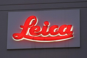 Illuminated advertising of Leica company office in Wetzlar, Hesse, Germany
