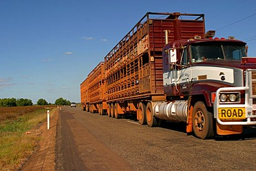 Road train on the way in the Outback darwin northern territory australia
