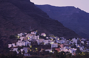 La Calera at sunset, Valle Gran Rey, La Gomera, Canary Islands, Spain