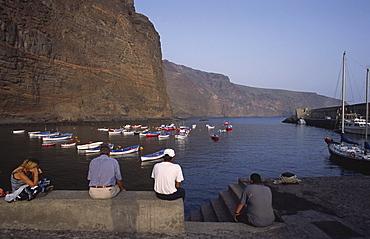 The harbour in Vueltas, Valle Gran Rey, La Gomera, Canary Islands, Spain