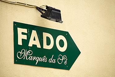 Sign to a Fado or Fate pub, Alfama, Lisbon, Portugal, Europe