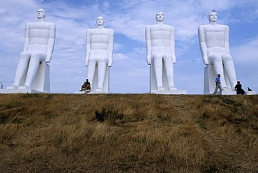 "Sculptures at the beach ""Mennesket ved havet"" 9 meters high, Esbjerg, Jutland, Denmark"