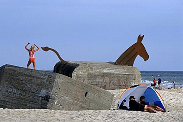 Decorated bunker, beach of Blavand, Jutland, Denmark |
