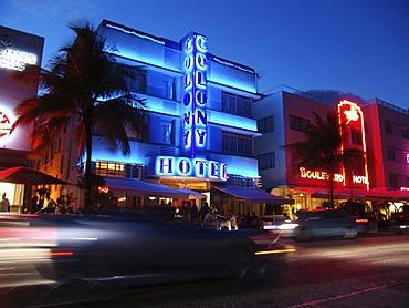 Ocean Drive at night, Miami Beach, Florida, USA