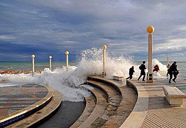 People, storm, promenade, storm flood, waves, flood, Altea, Alicante province, Costa Blanca, Spain, Europe