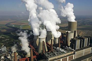 Brown coal power station Niederaussem of the RWE Power company, Bergheim, North Rhine-Westphalia, Germany