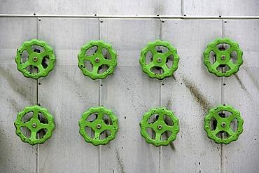 DEU Germany : Gas power station detail. Handwheels for air control. |