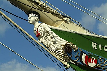 Figurehead, Museum ship Rickmer Rickmers, port of Hamburg, Germany