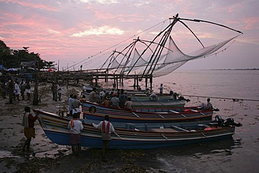 Chinese fishing nets at the beach of Fort Cochin, Kerala, India