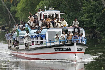 Local ferry boat, Backwaters, Kerala, India