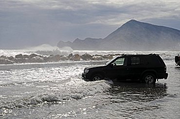Storm waves, storm flood, flooding, cars, parking lot, Altea, Alicante province, Costa Blanca, Spain, Europe