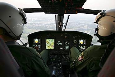 Pilotes in cockpit, Police helicoper, Eurocopter EC 155
