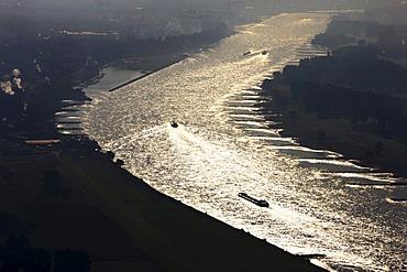 Freighters on the Rhine, Leverkusen, North Rhine-Westphalia, Germany