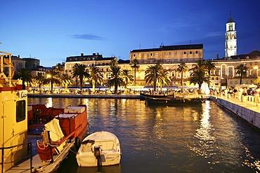 The harbour promenade, at dusk, Split, Middle Dalmatia, Croatia