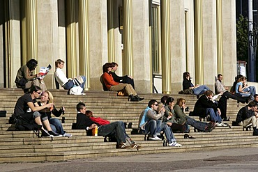 In front of the Opera house at the Augustus square. Entrance, stairs, Leipzig, Saxony, Germany