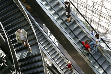 Petersbogen, shopping center, escalators, Leipzig, Saxony, Germany