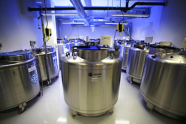 Cooling tanks of the privat company Vita34, which is storing and conditioning cord blood, Dresden, Saxony, Germany